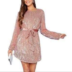HERA Collection Sequin Mini Shirt Dress Pink S